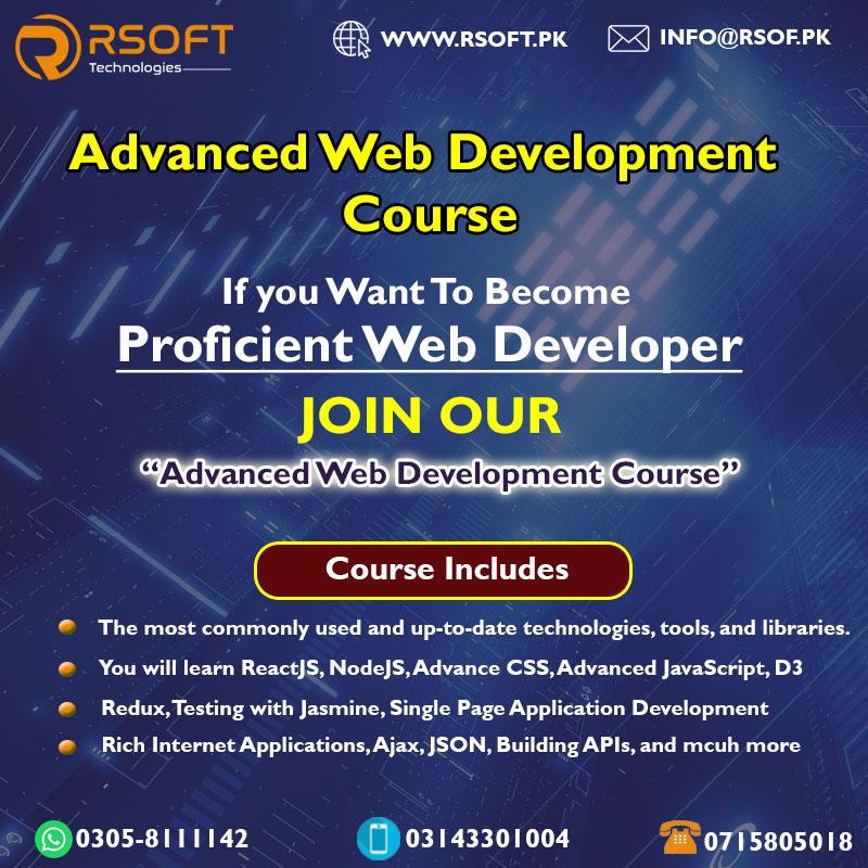 advanced web development course in pakistan